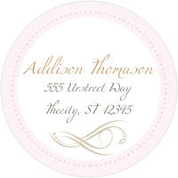 Cross Flourish Pink Return Address Label