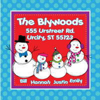 Snowman Square Family Return Address Label
