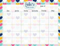 Plenty Hearts Weekly Calendar