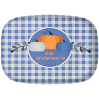 Blue Gingham Thanksgiving Platter