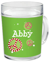 Candy Cane Peace Clear Acrylic Mug