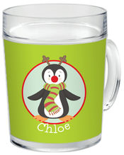 Red Nose Penguin Clear Acrylic Mug