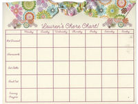 Cream Flowers Ribbon Chore Chart