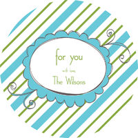 Blue Green Diagonals Gift Stickers