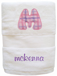 Plaid Girl Embroidered and Applique Towel TW74