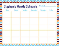Fall Chevron  Weekly Calendar