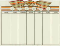 Green & Brown Stripes Bow Calendar