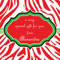 Christmas Zebra Gift Stickers
