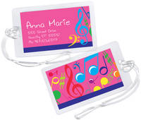 Bright Notes Fuchsia Luggage Tag