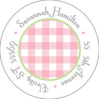 Pink Gingham Round Address Label