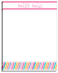 Chevron Pencil Pink Large Notepad