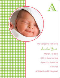 Green Gingham Card SM466