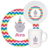 Birthday Hippo Melamine Set