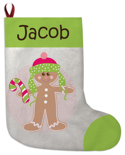 Gingerbread Dots Boy Christmas Stocking