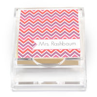 Pink Chevron Sticky Note Holder