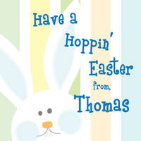 Hopping Bunny Blue Easter Stickers