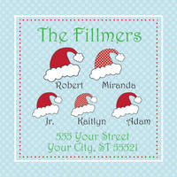 Santa Hat Square Return Address Label