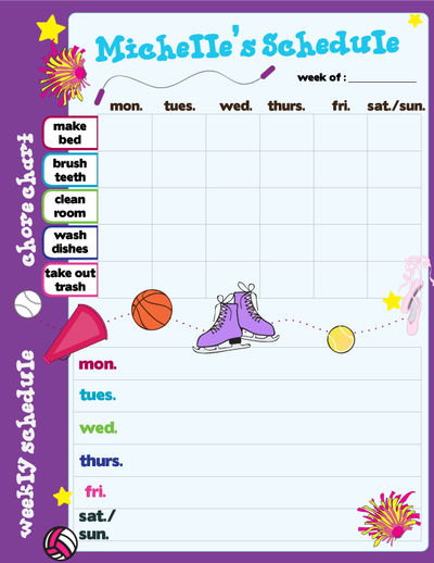 Custom Girl Sports Calendar Pad Schedule Planner