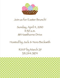 Multicolor Eggs and Basket Easter Invitation