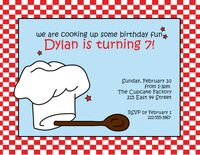 Cooking Fun Blue Invitation