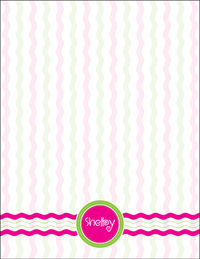 Fuchsia Striped Green Large Notepad