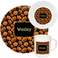 Carved Pumpkin Melamine Set