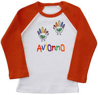 Hand Turkeys Girl Embroidered Ringer Shirt