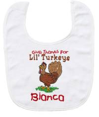 Lil' Turkeys Embroidered Bib