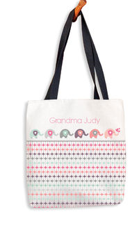 Elephants in a Row Tote Bag