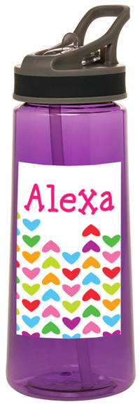 Lined Hearts Water Bottle