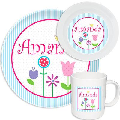 Spring Flowers Melamine Set  sc 1 st  Script and Scribble & Spring Flowers Melamine Set | Kids Dinnerware | Personalized Plastic ...