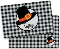 Black Gingham Pilgrim Hat Placemat