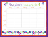 Cutesy Flowers Homework Chart