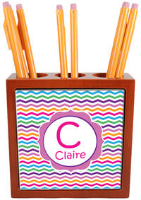 Rainbow Chevron Pencil and Pen Holder