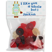 Robot Valentines Candy Bag Toppers