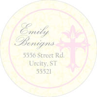 Cross Damask Pink Return Address Label