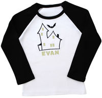 Haunted House Embroidered Ringer Shirt