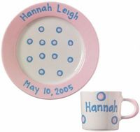 Blossom Pink Baby Dot Plate and Cup Set