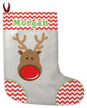 Chevron Reindeer Christmas Stocking