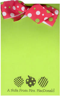 3 Apples Green Bow Notepad