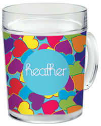 Bright Hearts Clear Acrylic Mug