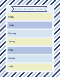 Blue Hues Diagonal Weekly Calendar