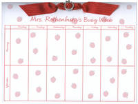 Red Apple Background Ribbon Slide Calendar Pad