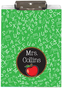 Apple Chalkboard Acrylic Clipboard