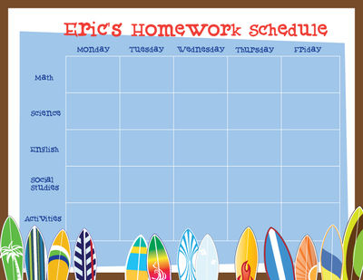 Cool Surfboards Homework Chart