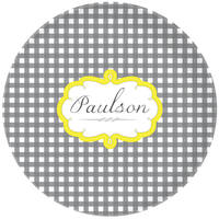 Grey Gingham Plate