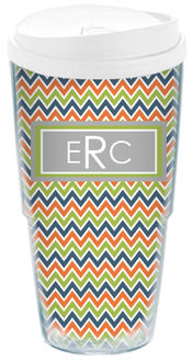Chevron Green Acrylic Travel Cup