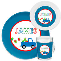 Gift Truck Blue Dinnerware Set