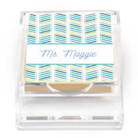 Chevron Pencil Blue Sticky Note Holder