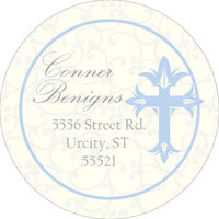 Cross Damask Blue Return Address Label